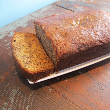 A photo of old fashioned banana bread.