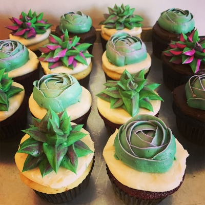 A photo of customized cupcakes from a special order.