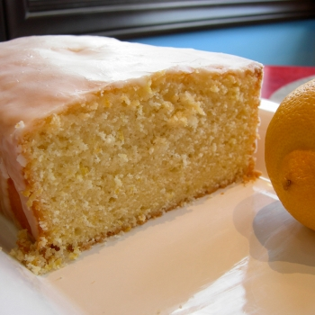 A photo of a freshly sliced lemon pound cake.
